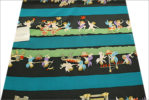 長襦袢反物(お仕立て代込・正絹) カラシとベージュの市松格子(ネコ柄)(生地拡大)