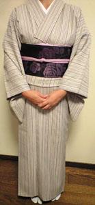 投稿のお写真(H・Y様・亜麻色系縞着物1)